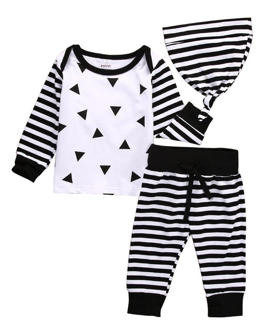 Newborn Toddler Long Sleeve Tops Long Pants Hat 3PCS Casual Outfits Clothes set 0 months-24 months - ozsweetdeals