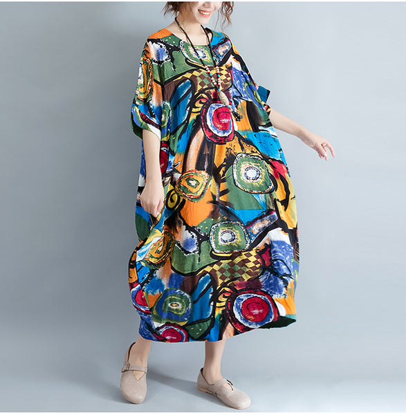 Women Dress Pattern Print Linen Colorful Female Loose  Dresses - ozsweetdeals