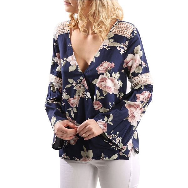 Ruffle Sleeve Shirt Women Blouse Lace Stitching  Flower Print Hollow Long Sleeve Sexy V-Neck Tops - ozsweetdeals