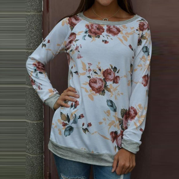 Print Printed Womens Casual Floral Splicing O-Neck Long Sleeve Tops - ozsweetdeals