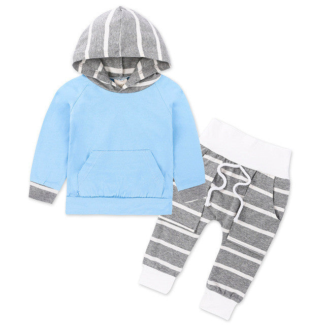 Cute Fashion Newborn Baby Clothes Infant Toddler Striped Hooded Sweatshirt Tops Pant 2PCS - ozsweetdeals