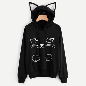 Cat Ear Hoodie Sweatshirt Women's Printed Long Sleeve Hooded Pullover Tops - ozsweetdeals