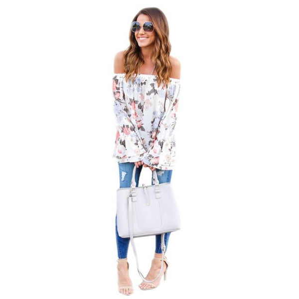 Off Shoulder Blouse Women Floral Printed Casual Long Flare Sleeve - ozsweetdeals