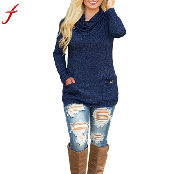Women Blouse Long Sleeve Turtleneck Casual Tops Knit Winter Button Pocket Warm blusa rayas - ozsweetdeals