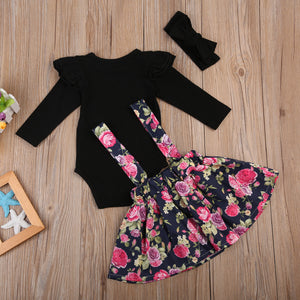 Baby Girl Clothes Set 3Pcs 0-24M  Black Long Sleeve Romper Floral Skirt Outfit set - ozsweetdeals