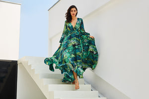 Long Sleeve Green Tropical Print Vintage Maxi Dresses V Neck Belt Lace Up - ozsweetdeals