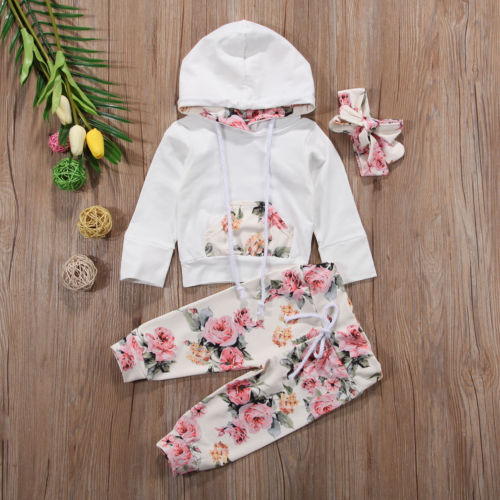 Infant Baby Girls Clothes Set Long Sleeve Hooded Sweatshirt Tops+Floral Pants Set - ozsweetdeals