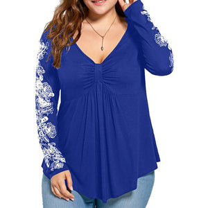 Women's Long Sleeve Casual Top Blouse with flower design - ozsweetdeals