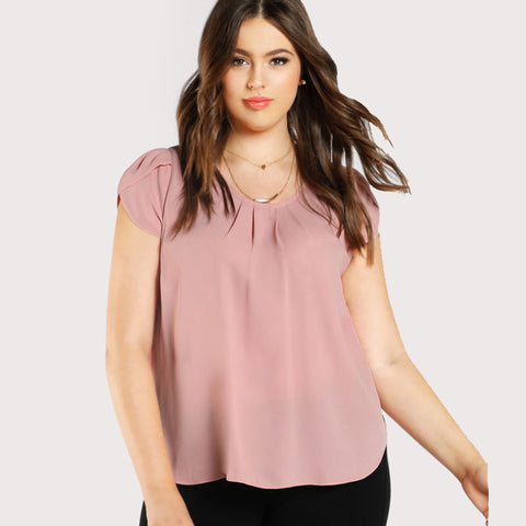 Women's Casual Pink Elegant Tulip Sleeve Pleated Neck Top And Blouse - ozsweetdeals