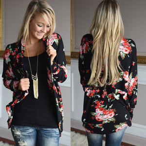 Women's Floral Print Thin Long Sleeve Loose Jacket - ozsweetdeals