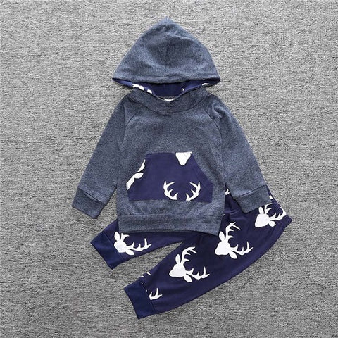 Baby Toddler Long Sleeve Hooded Tops pants 2 pcs. clothing set 23 styles & colors - ozsweetdeals