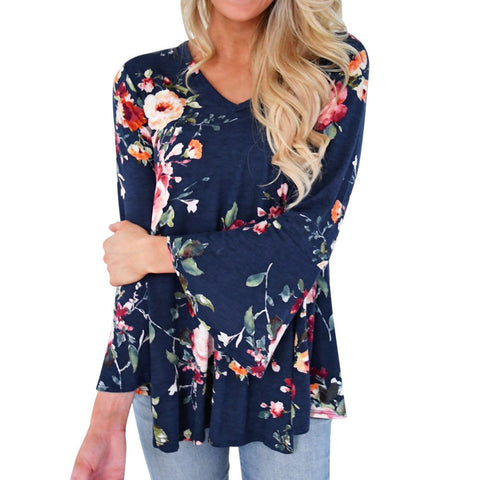 Plus Size Women Autumn Casual Floral Printing Long Flare Sleeve Tops Blouse - ozsweetdeals