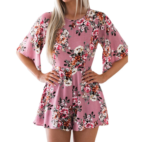 Half Sleeve Loose Rompers