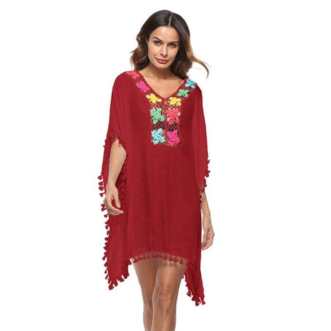 Women's Colored Tassel See-Through Crochet Tunic Beach Cover Up Swimwear - ozsweetdeals