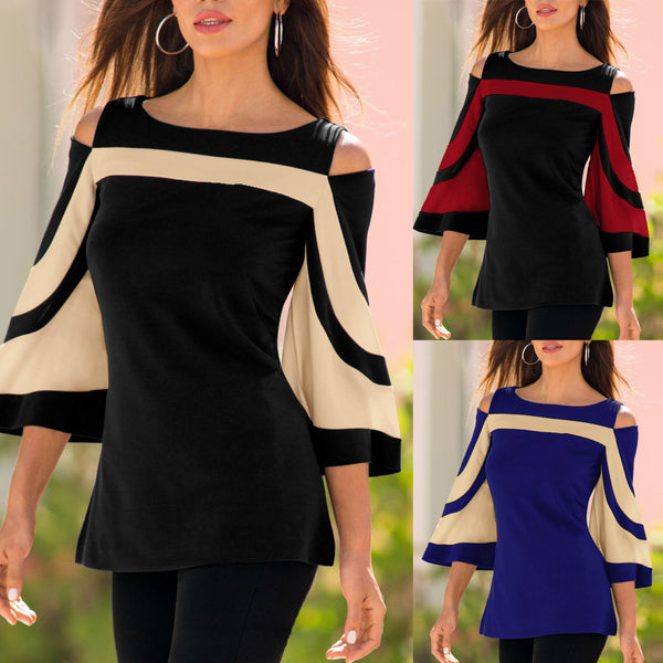 Women Cold Shoulder Long Sleeve Sweatshirt Pullover Tops Blouse Shirt - ozsweetdeals