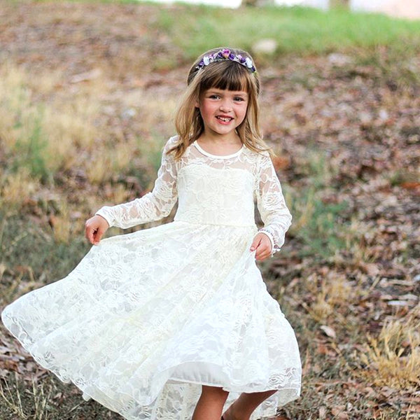 Toddler Lace Long Sleeve Dress Fairy Longuette 2-7T - ozsweetdeals
