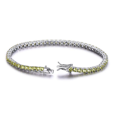 Luxury Peridot Bracelet For Women 925 Sterling Silver Jewelry - ozsweetdeals