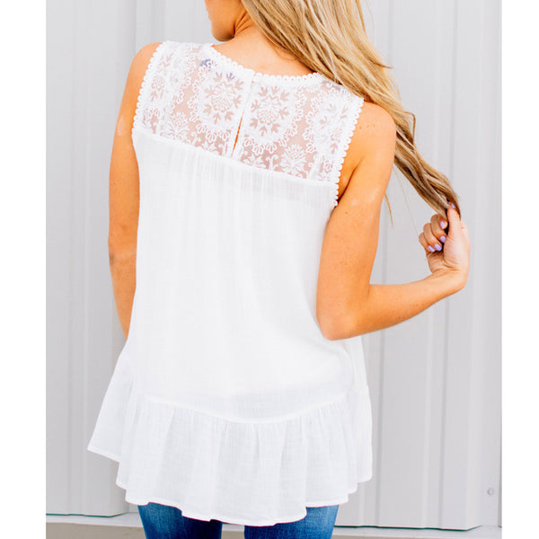 Women Lace Vest Sleeveless Loose Crop Tops Tank Tops Blouse Tops T-Shirt - ozsweetdeals