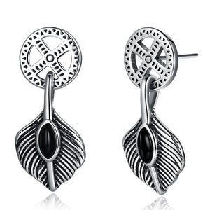 S925 Sterling Silver Earrings Fashion Personality Retro Leaves Earrings Trend Ear Studs - ozsweetdeals