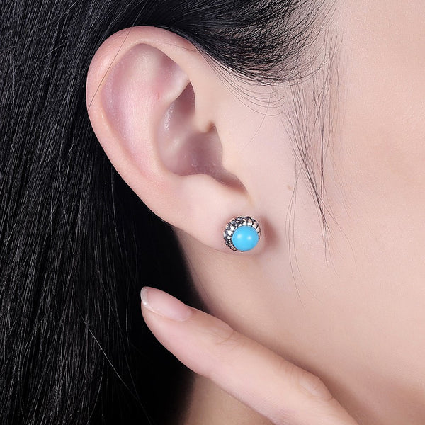 S925 Sterling Silver Ear Studs Fashion Flower Turquoise Stud Earrings - ozsweetdeals