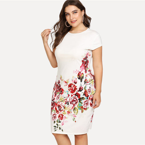 Floral Print Pencil Dress - ozsweetdeals