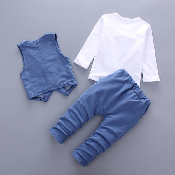 Toddler clothes 3pcs set denim style cotton with tie children clothing suit 4colors - ozsweetdeals