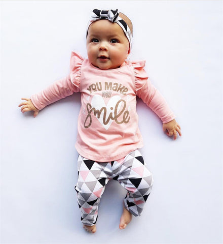 3Pcs Newborn Baby Girl Clothes Pink Sleeve Ruffle Tops+Geometric Pants+Headband Infant Toddler Baby Girls Clothing Set - ozsweetdeals