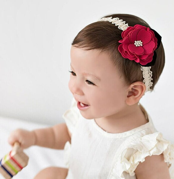 Newborn girls  fabric flower headbands - ozsweetdeals