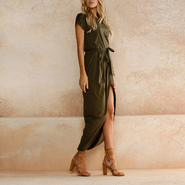 Women Bohemian Asymmetrical Solid Ankle-length Empire O-neck dress - ozsweetdeals