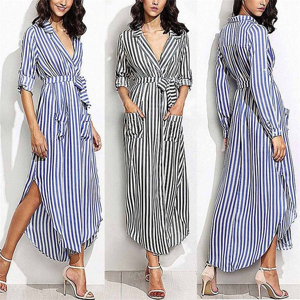 Women's Stripe Belted Deep V Neck Long Sleeve Maxi Dress - ozsweetdeals