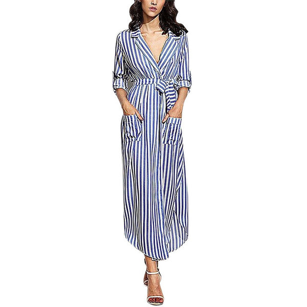 Stripe Long Sleeve Maxi Dress