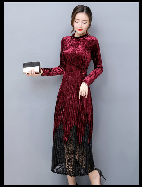 Women's Elegant Velvet Long Sleeve Dresses - ozsweetdeals