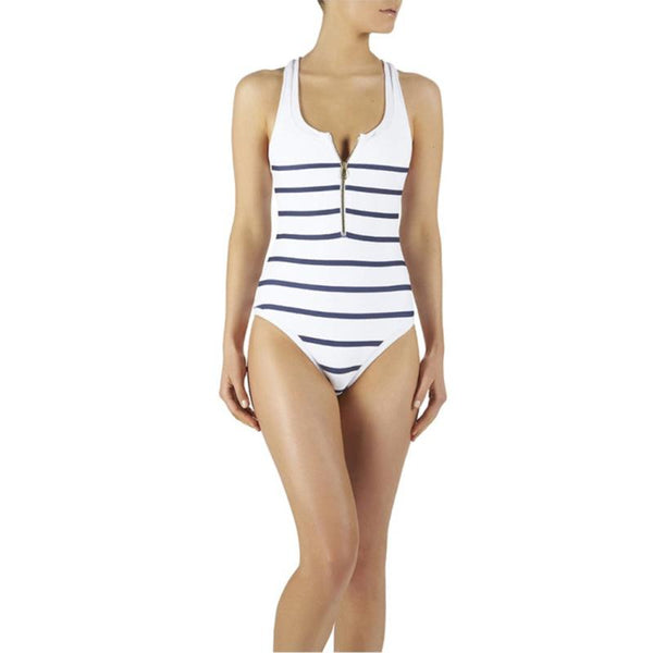 Women's Black White Striped One-Piece Push up Padded bathing suit
