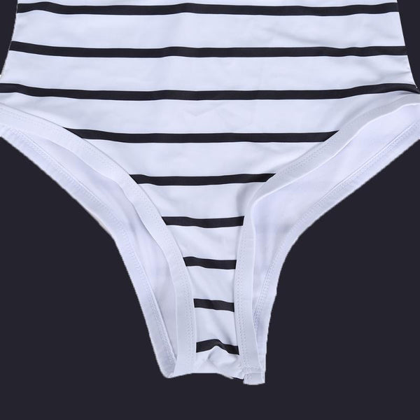 Women's Black White Striped One-Piece Push up Padded bathing suit - ozsweetdeals