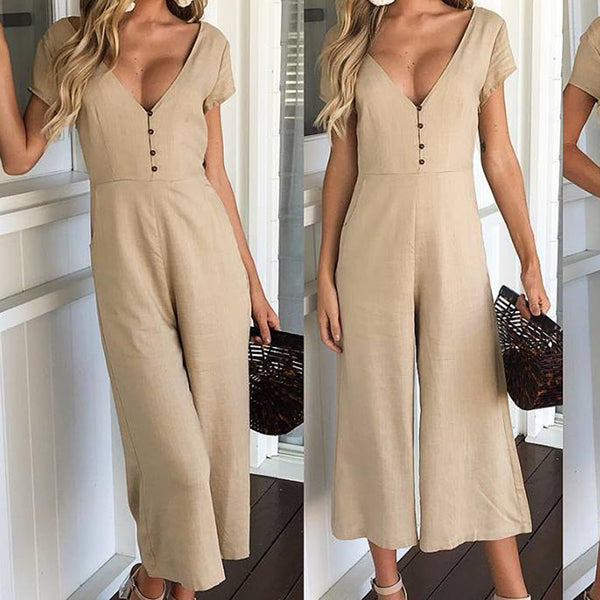 Women's Short Sleeve V-neck Wide Leg Jumpsuit - ozsweetdeals