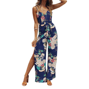 Women's Spaghetti Strap Overalls Wide Leg Pants Rompers - ozsweetdeals