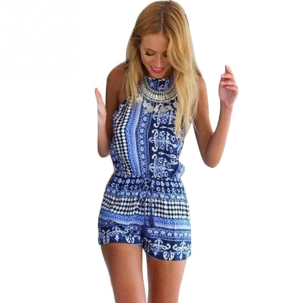 Women's Floral Mini Backless Romper - ozsweetdeals