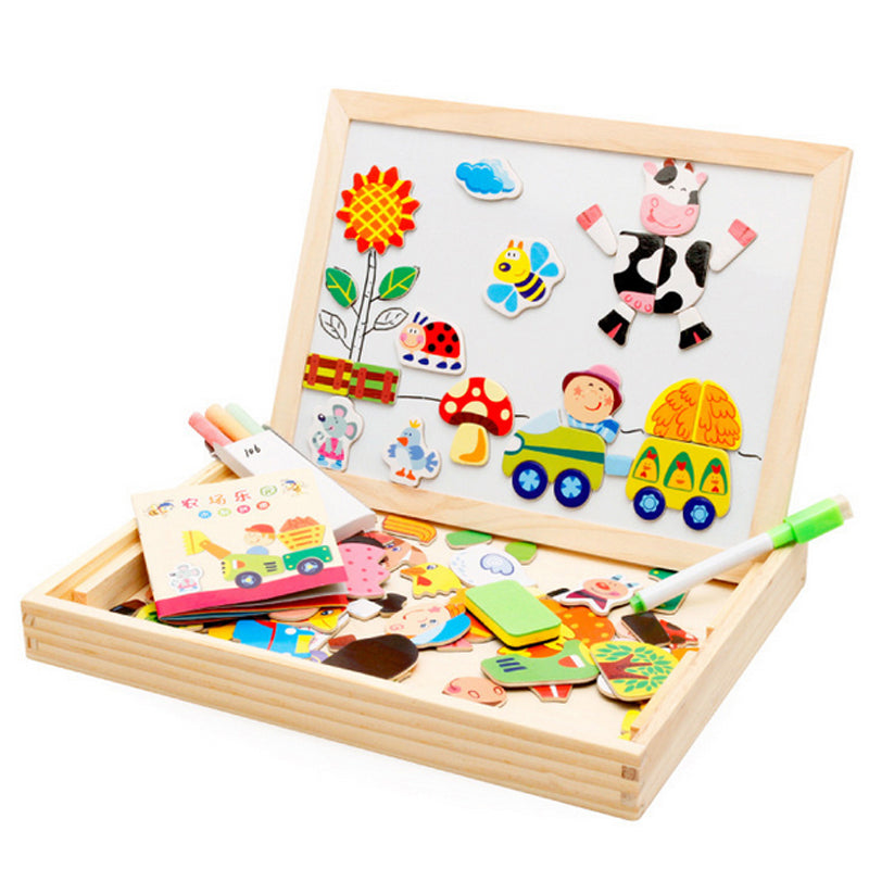 Drawing Writing Board Magnetic Puzzle Double Easel Kid Wooden Educational Toy - ozsweetdeals
