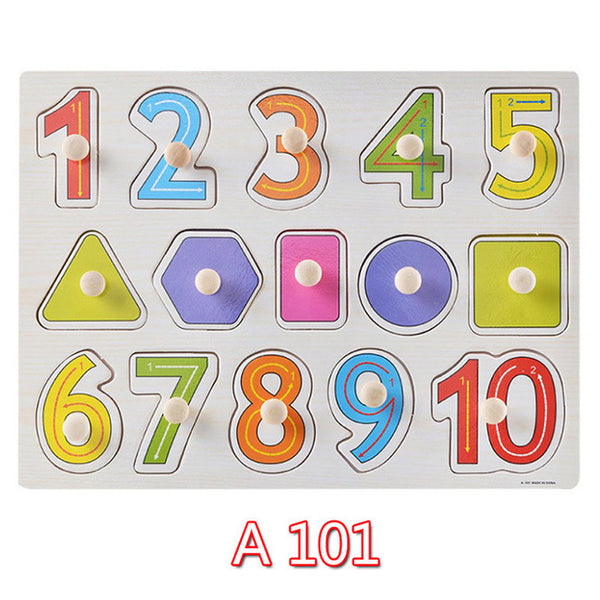 30cm Children Early educational toys wooden puzzle alphabet, numbers, and animals - ozsweetdeals