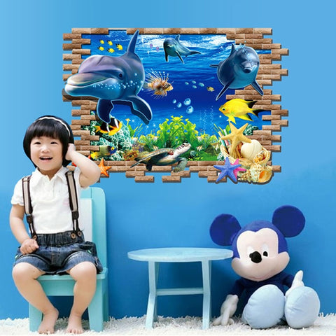 3D Underwater World dolphin wall stickers for kids baby rooms bedroom home decoration Animals sticker art decals