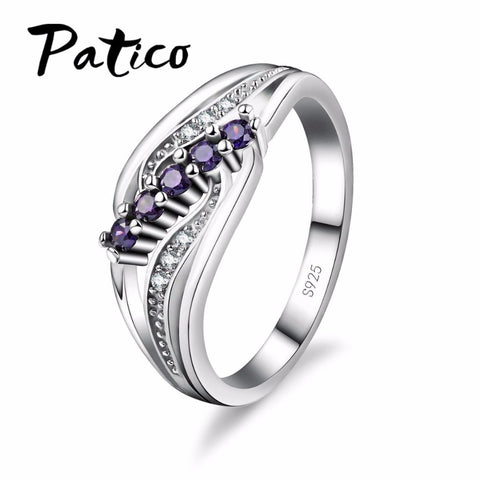 Luxuriant Bohemia Style Attractive Design Jewelry Purple AAA Crystal 925 Sterling Silver Ring