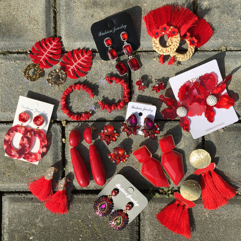 Red Handmade Statement Earrings