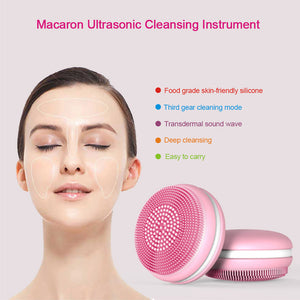 Skin Care Facial Cleanser Deep Cleaning Ultrasonic Silicone Beauty Face Massage Cleaning Tool Rechargeable