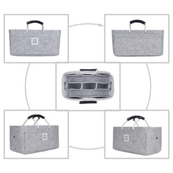 Cement Gray Large GIFTS INCLUDED : Cable Holders+Lipstick Holders / Mini Wallet[28x15x15cm]