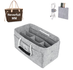LV NEVERFULL MM Organizer GIFTS INCLUDED : Cable Holders+Lipstick Holders / Mini Wallet[Cement Gray]