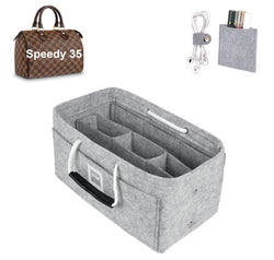 LV SPEEDY 35 Organizer GIFTS INCLUDED : Cable Holders+Lipstick Holders / Mini Wallet[Cement Gray]