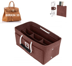 Hermès Birkin 35 Organizer GIFTS INCLUDED : Cable Holders+Lipstick Holders / Mini Wallet[Chocolat Brown]