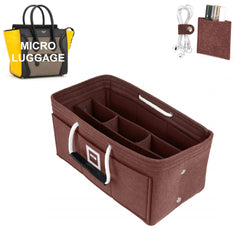 CÉLINE Micro Luggage Organizer GIFTS INCLUDED : Cable Holders+Lipstick Holders / Mini Wallet[Chocolat Brown]