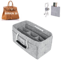 Hermès Birkin 30 Organizer GIFTS INCLUDED : Cable Holders+Lipstick Holders / Mini Wallet[Cement Gray]