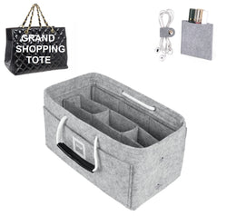 CHANEL Grand Shopping Tote Organizer GIFTS INCLUDED : Cable Holders+Lipstick Holders / Mini Wallet[Cement Gray]